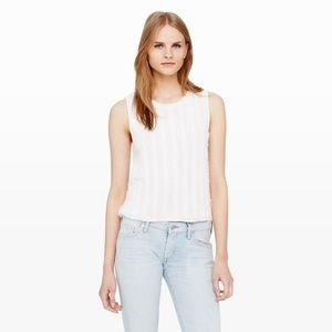 Club Monaco White Salyie Fringe Tank Top M